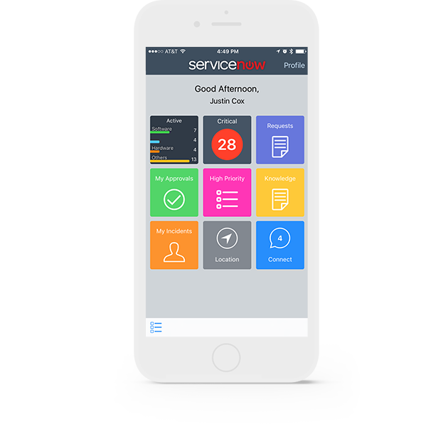 Service portal user interface on smartphone (Android or iOS)